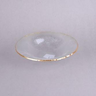 صحن تقديم زجاج حواف ذهبية، مقاس 30 سم موديل YM-21682