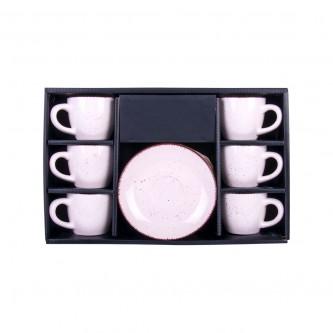 طقم اكواب قهوه بيج مع الصحون , 12 قطعة موديل ZHBG048