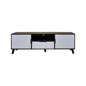 طاولة تلفاز مع ارفف خشبيه بني مع ابيض  مقاس 160 * 40 * 50  سم موديل 20511