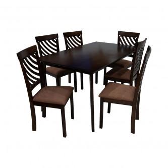 طاوله طعام خشب بني مع  6 كرسي موديل RH7219+5980CBR