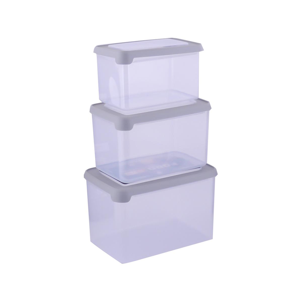 حافظه بلاستيك رمادي طقم 3 حبة موديل 7000060
