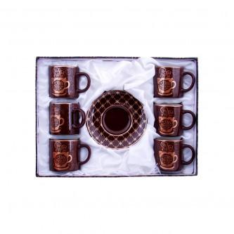 طقم فنجان سراميك  مع صحون منقوش موديل 17A1418