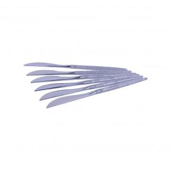 سكين بلاستيك فضي  22 سم 6 حبه يد شفاف موديل 3119