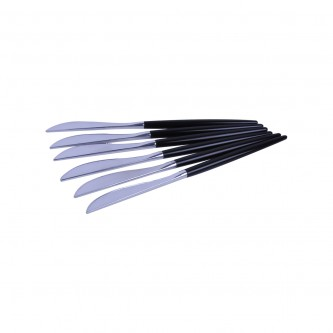سكين بلاستيك فضي  22 سم 6 حبه يد اسود موديل 3113