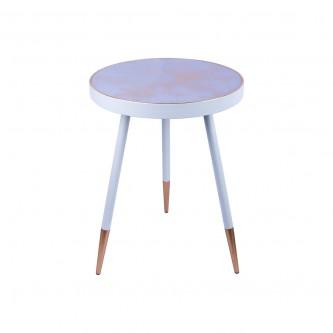 طاولة تقديم وخدمة خشب دائرية - ابيض ذهبي موديل CXSC93564