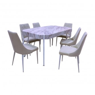طاوله طعام خشب مع  6 كرسي لون ابيض موديل G008-1DT
