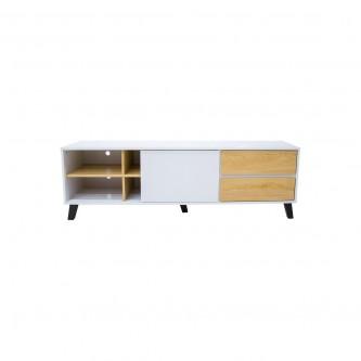 طاولة تلفاز مع ارفف خشبيه ابيض مع بني  مقاس 160 * 40 * 50  سم موديل 1270403