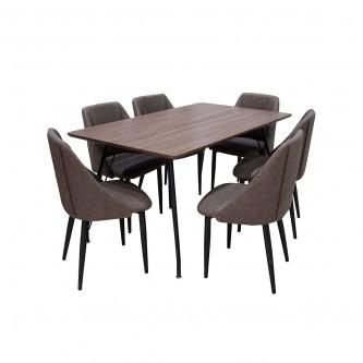 طاوله طعام خشب مع  6 كرسي بني موديل DT510