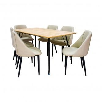 طاوله طعام خشب مع  6 كرسي بيج موديل DT510