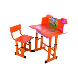 طاولة اطفال مدرسية خشب + كرسي - الوان برتقالي  0123BIU