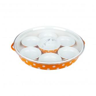 طقم  افطار  صحون  برتقالي  منقط  وسط رقم  559380