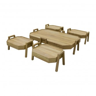 طقم طاولة شاهي ارضية  خشب 5 قطعه  رقم TS8M-SET06
