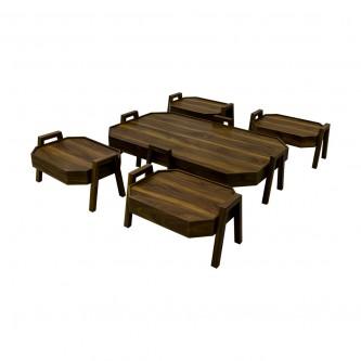 طقم طاولة شاهي ارضية  خشب 5 قطعه  رقم TS8M-SET01