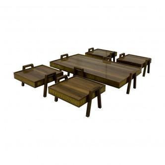 طقم طاولة شاهي ارضية  خشب 5 قطعه  رقم VDTDM-01