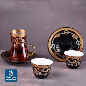 طقم  بيالة شاهي و قهوة مع الصحون ليزر 36 قطعة رقم 900179