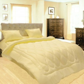 طقم لحاف مفرش سرير فندقي مقلم ,6 قطعه ,نفرين ,لون بيج