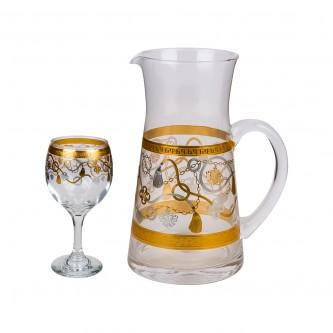 طقم جك عصير زجاج مع 6 كاسات ليزر موديل 1-900183