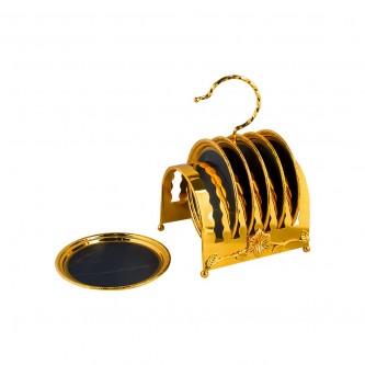 صحون تقديم استيل فاخرة , مع استاند , لون ذهبي  151165