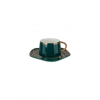 كوب قهوة سيراميك  مع صحن , الوان متعددة , موديل 559293