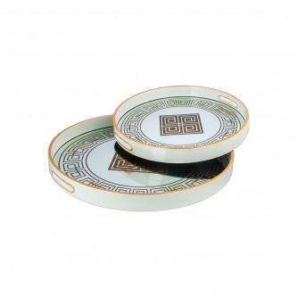 طفرية تقديم دائري طقم 2 قطعة زجاج باطار خشبي رقم 559514