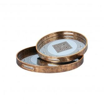 طفرية تقديم دائري طقم 2 قطعة زجاج باطار خشبي رقم 559506