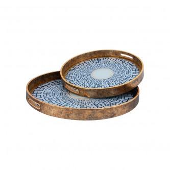 طفرية تقديم دائري طقم 2 قطعة زجاج باطار خشبي رقم 559510