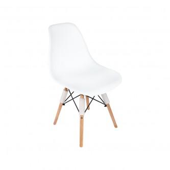كرسي  بلاستك ابيض  بارجل خشب  رقم YM-16880