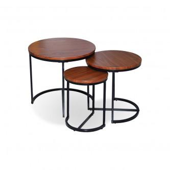 طاولة تقديم وخدمة خشب 3 قطعة بني اسود CTFS03MB