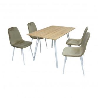 طاولة طعام خشبية مع 4 كرسي  , لون بيج , DT093+DC110 رقم 1190118