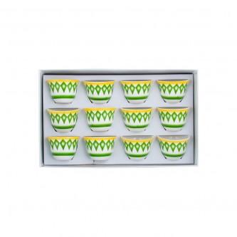 طقم فناجين قهوة البادية لون اخضر وسط رقم K692216/2