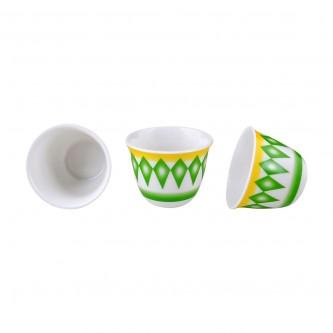 طقم فناجين قهوة البادية لون اخضر كبير رقم K692216/1