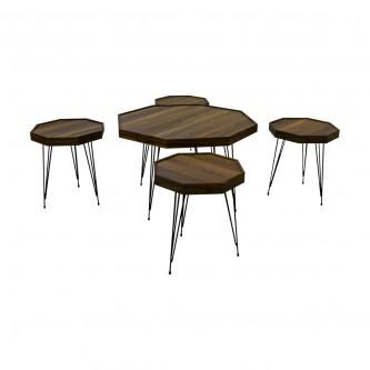 طقم طاولة شاهي ارضية  خشب 5 قطعه  رقم DRH8