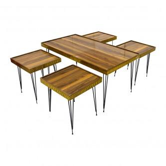 طقم طاولة شاهي ارضية  خشب 5 قطعه  رقم VDTD-01