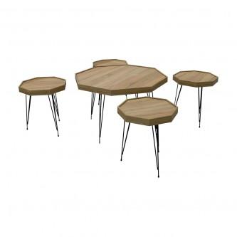 طقم طاولة شاهي ارضية  خشب 5 قطعه  رقم SET02