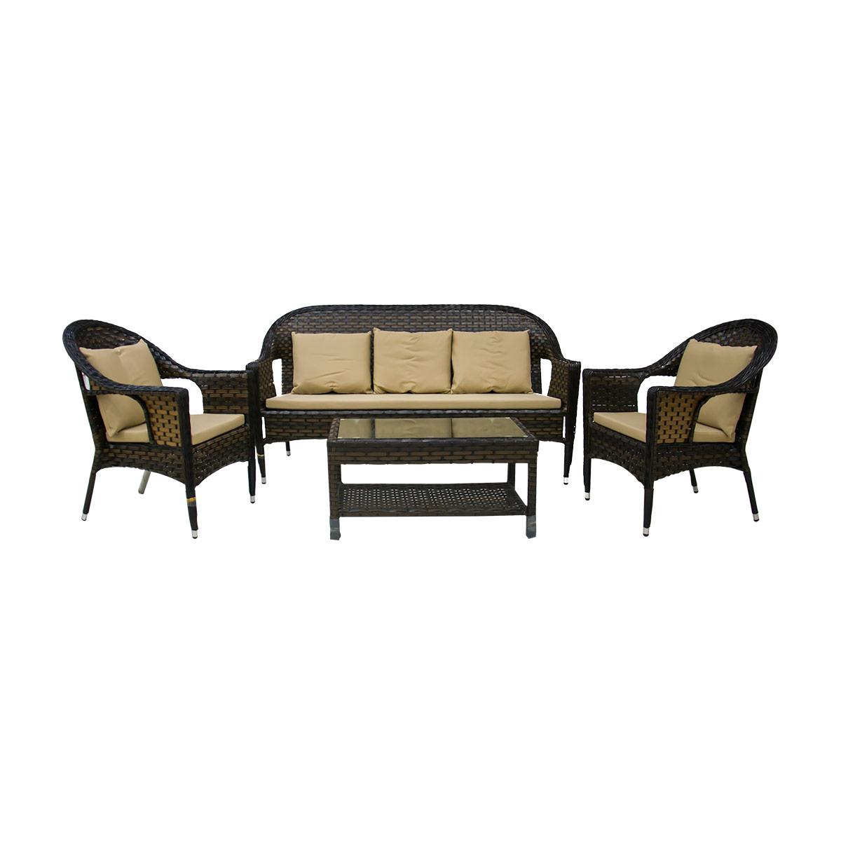 طاولة حديقة مع 3 كرسي لون بني موديل 126+689