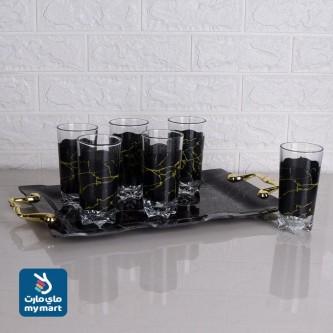 طقم طفرية تقديم مع الكاسات زجاج ابيض+اسود رقم 1002