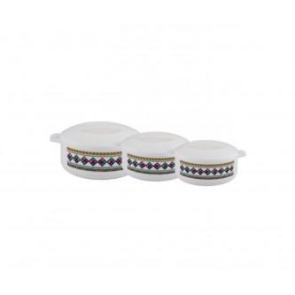 طقم حافظات طعام 3 مقاسات مختلفة لون ابيض رقم K47890/1/3S