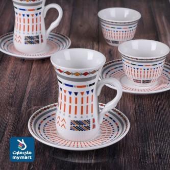 طقم فناجين قهوة  وبيالات شاي مع الصحون 36 قطعة رقم 37-16456