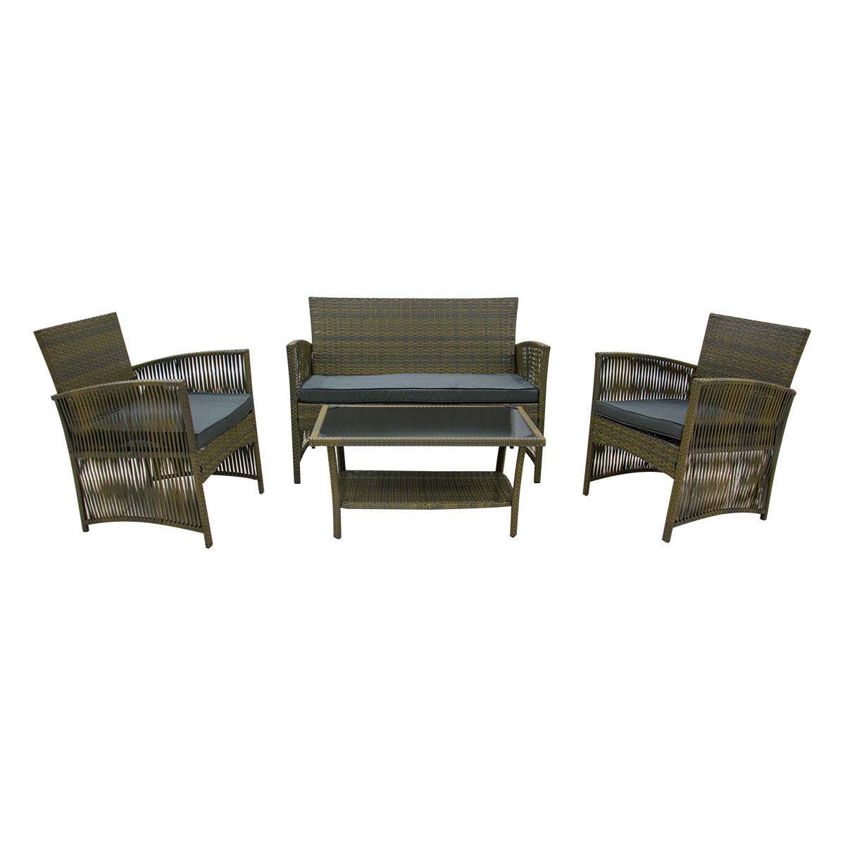 طاولة  حديقة  مع  3  كرسي  خيزران بني غامق DB-16 رقم 210058