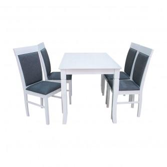 طاولة طعام خشبية مع 4 كرسي - لون ابيض - ماليزي رقم RH7079T