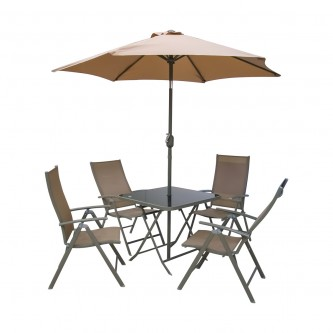 طقم طاولة جلسات خارجية مربعة لون بني مع 4 كرسي ومظله رقم 210600
