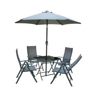 طقم طاولة جلسات خارجية مربعة لون رمادي مع 4 كرسي ومظله رقم 210600