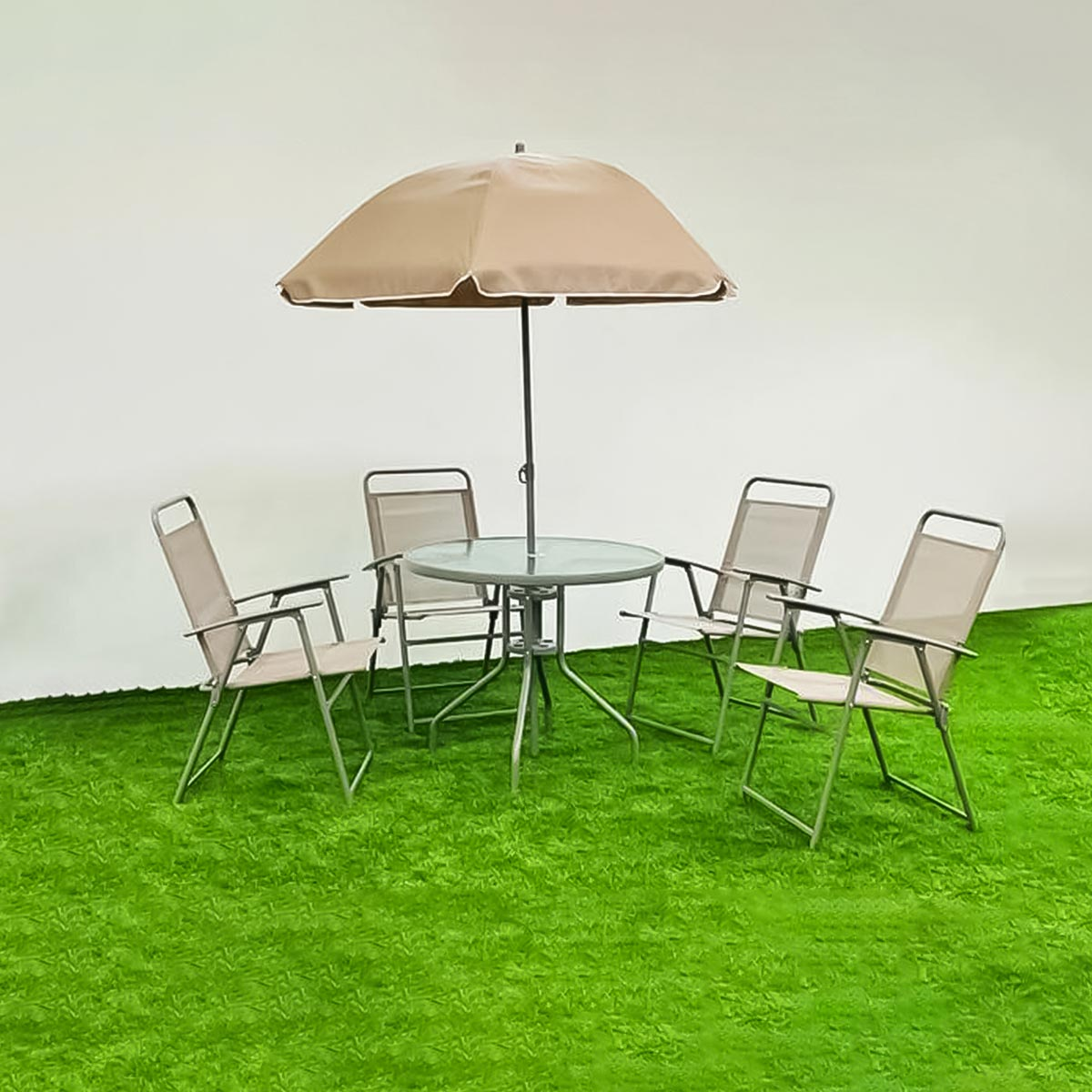 طقم طاولة جلسات خارجية دائري لون بني مع 4 كرسي ومظله رقم 210598