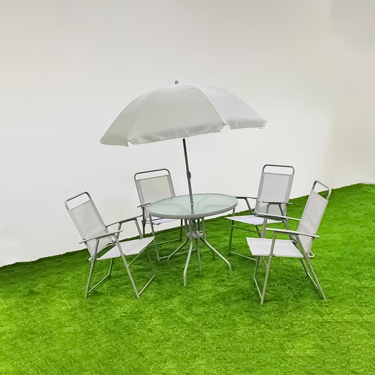 طقم طاولة جلسات خارجية دائري لون رمادي  مع 4 كرسي ومظله رقم 210598