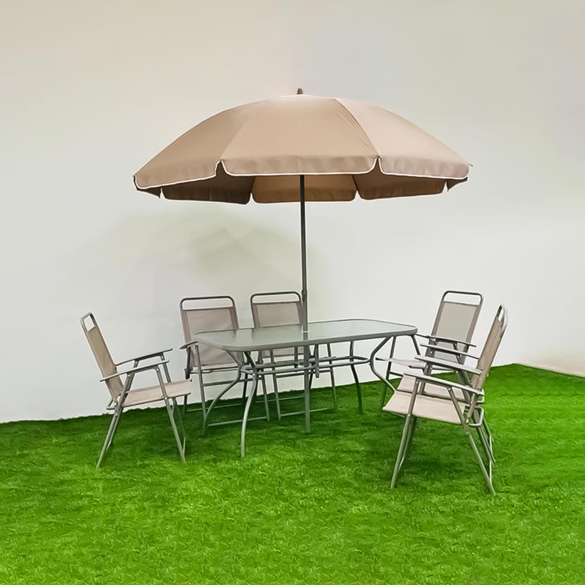 طقم طاولة جلسات خارجية مستطيلة لون بني مع 6 كرسي ومظله رقم 210599
