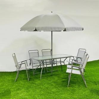 طقم طاولة جلسات خارجية مستطيلة لون رمادي  مع 6 كرسي ومظله رقم 210599