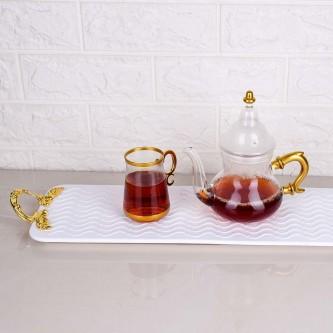 طقم بيالات شاي زجاج مع ابريق وصينية وملاعق 14 قطعة رقم 020630