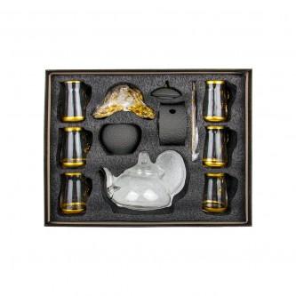 طقم بيالات شاي زجاج مع ابريق وصينية وملاعق 18 قطعة رقم 020608