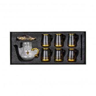 طقم بيالات شاي زجاج مع ابريق وصينية وملاعق 14 قطعة رقم 020629