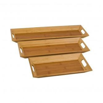 صحن تقديم خشبي مستطيل طقم 3 حبه  رقم 560430